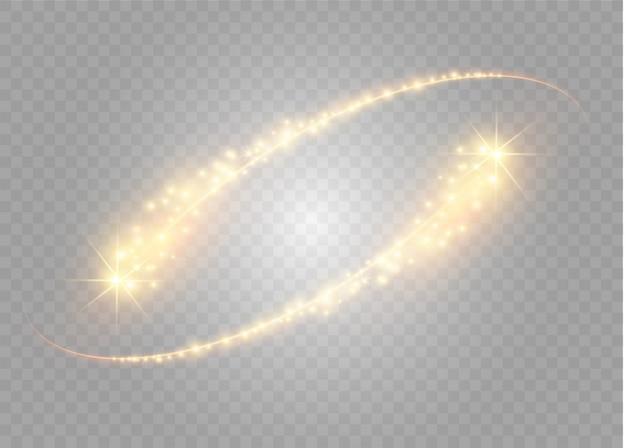 Effetto di luce magica stella incandescente astratta dalla sfocatura al neon delle linee curve. scia di polvere di stelle scintillanti dalla cometa side.flying su uno sfondo trasparente.