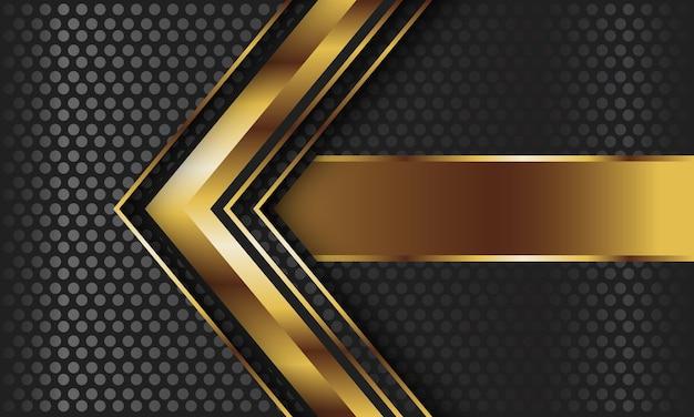Freccia astratta dell'oro sul fondo grigio scuro della maglia del cerchio.