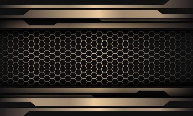 Linea nera astratta dell'oro cyber sul fondo futuristico di lusso moderno di progettazione del modello della maglia di esagono
