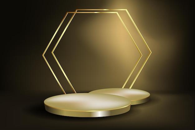 Fondo astratto del podio dell'oro e del nero per la vetrina, esposizione dei prodotti