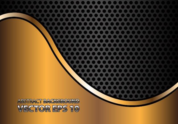 Linea curva astratta dell'oro sulla maglia del cerchio di metallo grigio