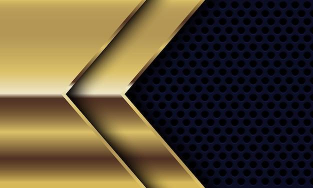 Direzione della freccia lucida dell'oro astratto sulla progettazione della maglia del cerchio nero