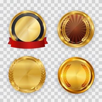 Etichetta oro astratta con insieme di raccolta modello nastro rosso.