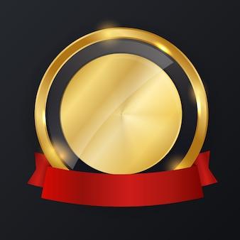 Etichetta oro astratta con modello di nastro rosso