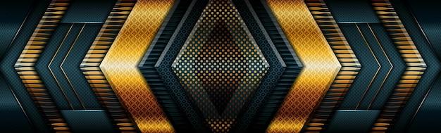 Luce oro astratta su banner futuristico moderno verde scuro