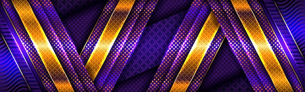 Linee di luce oro astratte su sfondo blu viola