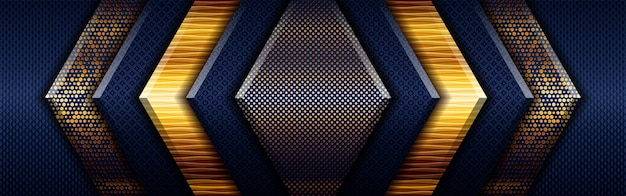 Poligonale luce oro astratto su sfondo geometrico blu scuro