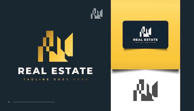 Progettazione astratta del logo del bene immobile dell'oro. costruzione, architettura o costruzione di logo design