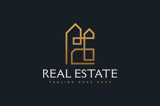 Abstract gold real estate logo design con stile di linea. modello di progettazione del logo di costruzione, architettura o edificio