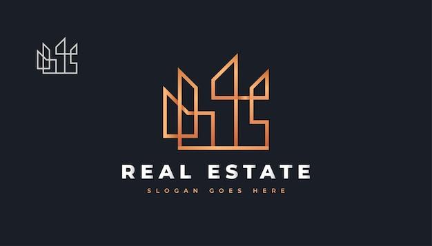 Abstract gold real estate logo design con stile di linea. costruzione, architettura o costruzione di logo design