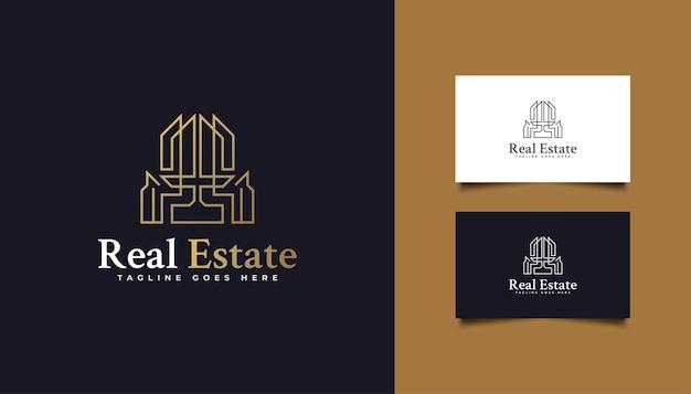 Logo astratto del bene immobile dell'oro nello stile della linea. modello di progettazione del logo di costruzione, architettura o edificio