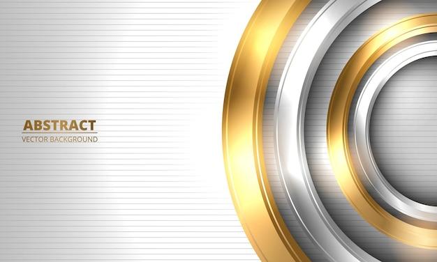 Cerchi astratti in oro e argento su sfondo di lusso bianco a strisce