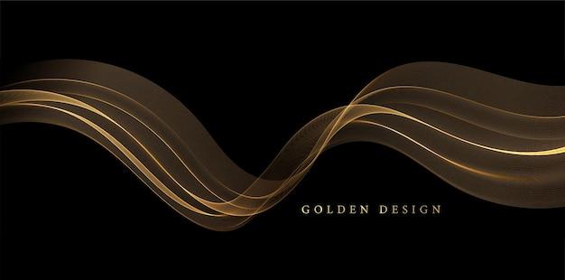 Onde di fumo d'oro astratte. effetto glitter con linee dorate lucide