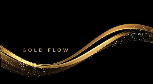 Linee commoventi dorate astratte delle onde dell'oro