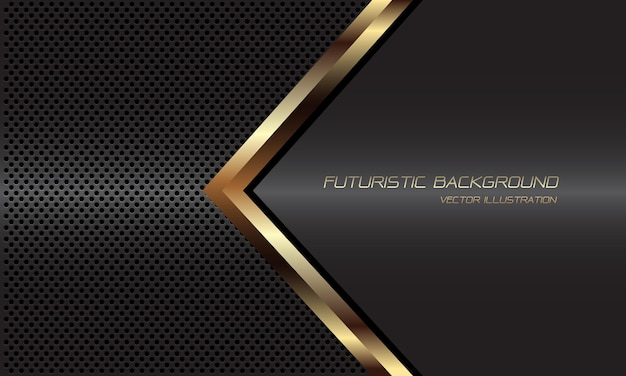 Direzione della linea nera astratta della freccia dorata sul fondo futuristico di lusso moderno di progettazione della maglia del cerchio metallico grigio scuro