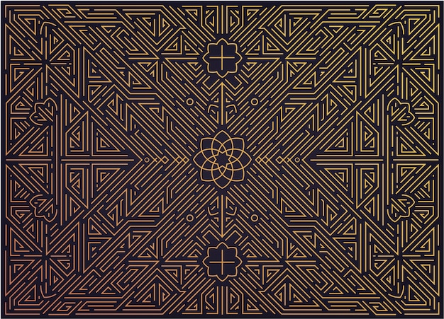 Astratto sfondo dorato con motivi arabi. matrimonio art deco, motivo festa, ornamento geometrico