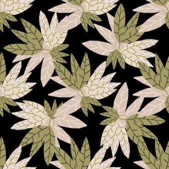 Modello senza cuciture delle foglie dorate astratte su fondo nero. disegnare a mano carta da parati tropicale. design per tessuto, stampa tessile, confezionamento. illustrazione vettoriale
