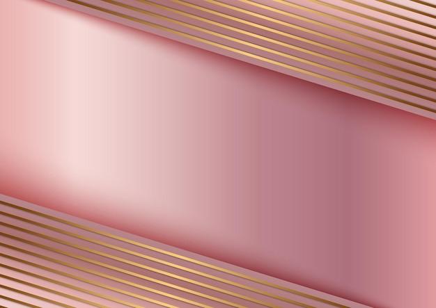 Linea dorata astratta su fondo oro rosa strisce.