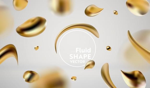 Fondo fluido liquido dorato astratto degli elementi grafici moderni. banner dinamico con forme fluide. modello per poster, flyer, presentazione, banner. illustrazione vettoriale