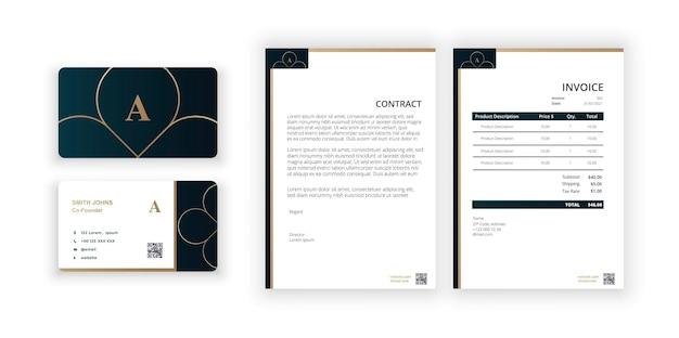 Logo dorato astratto biglietto da visita e vuoto modello minimalista moderno modello di progettazione del documento