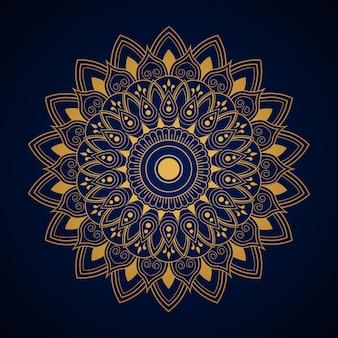 Mandala d'oro astratto su sfondo blu