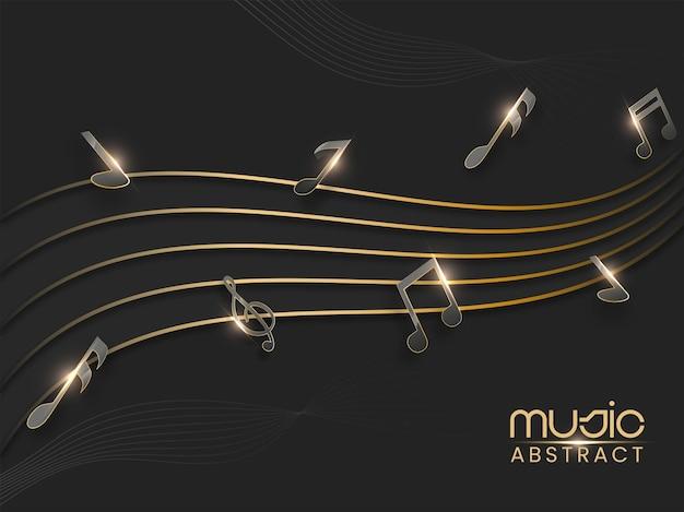 Sfondo astratto onda dorata con note musicali effetto luce.