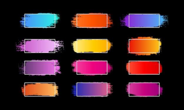 Tratti di pennello gradiente astratti, fascio di pennello inchiostro vettore