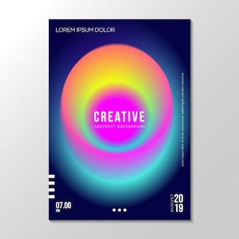 Modello di progettazione di copertura al neon fluido gradiente astratto