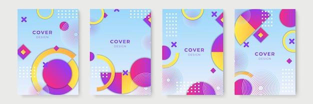 Disegni di copertina geometrici sfumati astratti, modelli di brochure alla moda, poster futuristici colorati. illustrazione vettoriale. campioni globali