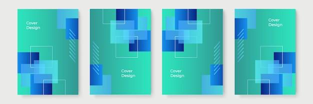 Disegni di copertina geometrici sfumati astratti, modelli di brochure alla moda, poster futuristici colorati. illustrazione vettoriale