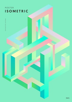 Modello di forma geometrica isometrica gradiente astratto