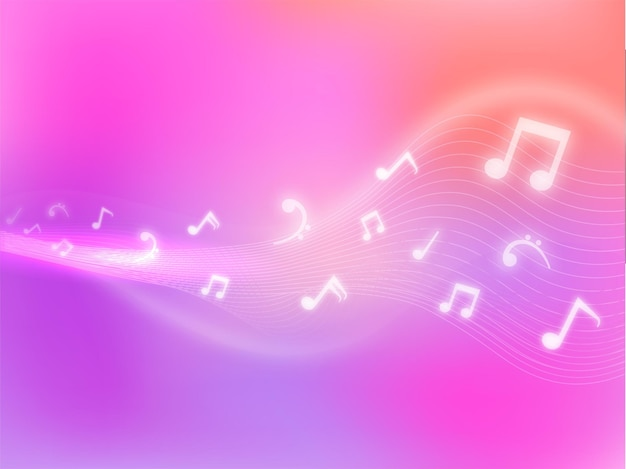 Abstract gradiente di sfondo ondulato con note musicali effetto luce.