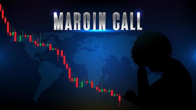 Sfondo grafico astratto della chiamata di crashmargin del mercato azionario, tendenza al ribasso, grande breve,