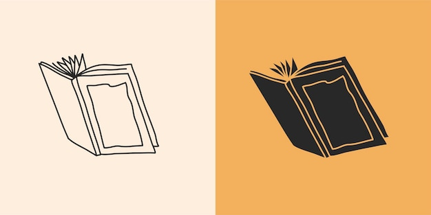 Illustrazione grafica astratta con set di elementi logo, disegno a tratteggio libro e silhouette