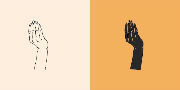 Illustrazione grafica astratta con set di elementi logo minimali, disegno della linea delle mani e silhouette