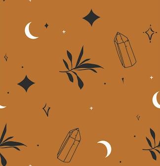 Illustrazione grafica astratta con motivo mistico minimale e bohémien senza cuciture di cristalli