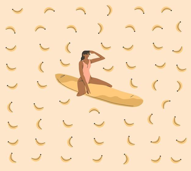 Cartone animato grafico astratto estivo, illustrazioni stampate con una bella ragazza bohémien che prende il sole