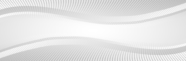 Sfondo grigio astratto, banner, forme ondulate, punti mezzatinta