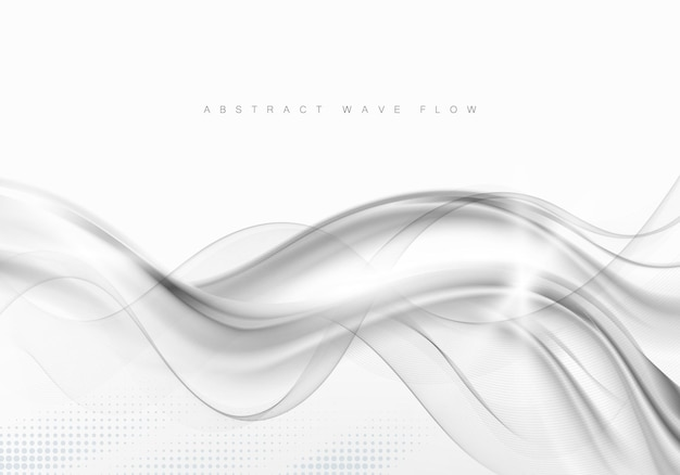 Sfondo grigio astratto con onde e ombre flusso grigio onda