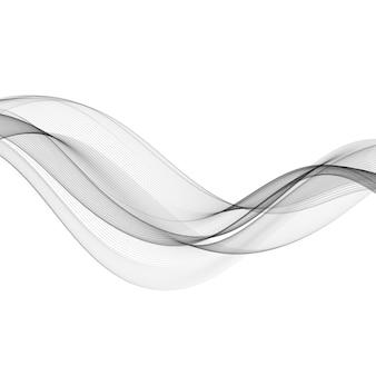 Elemento di disegno astratto onda di colore grigio. onda grigia. linee ondulate di fumo grigio