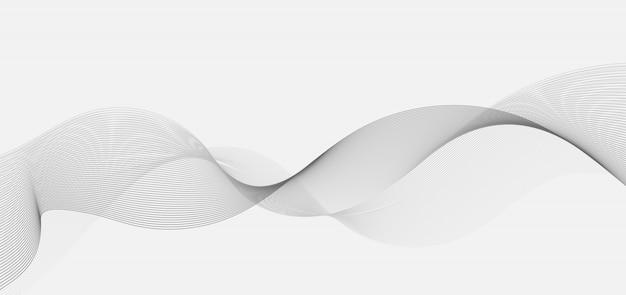 L'onda curva grigia astratta allinea il fondo bianco