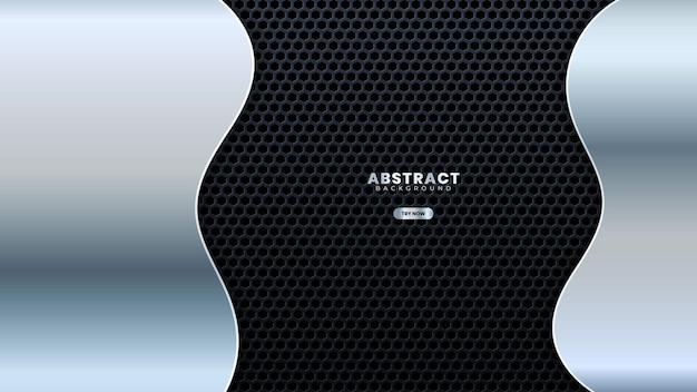 Design astratto curva in metallo grigio con illustrazione vettoriale di sfondo di lusso moderno traforato. adatto per banner web, poster, volantini, copertine, brochure
