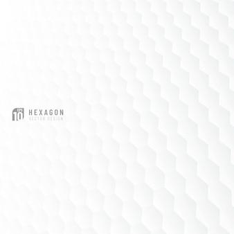 Fondo grigio e bianco astratto di prospettiva del modello di esagono.