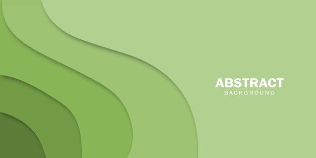 Astratto sfondo verde con carta tagliata onde