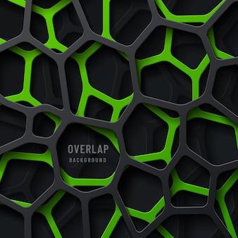 Strati di sovrapposizione a strisce geometriche astratte verdi e nere su sfondo scuro.