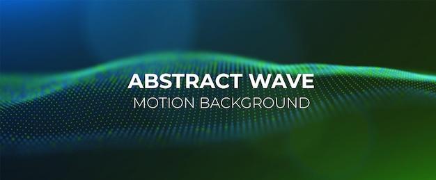 Sfondo astratto di particelle verdi e blu onda di flusso con paesaggio di punti