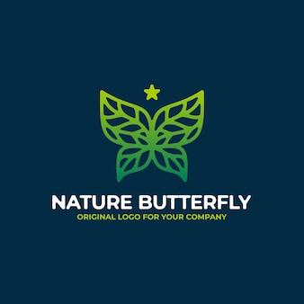 Modello di progettazione del logo astratto farfalla verde