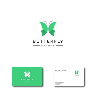 Logo astratto farfalla verde per modelli di logo e biglietti da visita di ispirazione