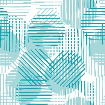Forme e strisce astratte dei cerchi di colore verde. linee di cerchio modello caotico. illustrazione del modello senza soluzione di continuità.
