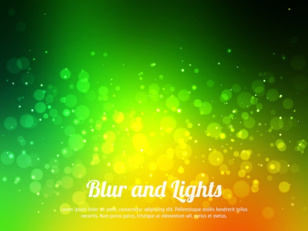 Bokeh colorato verde astratto. sfondo festivo con luci sfocati. sfondo magico con bokeh colorato.